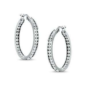 Hoop Earrings with Crystals Stainless Steel 30mm COLOR Jewelry
