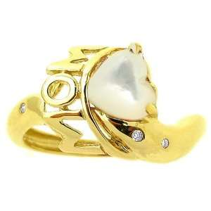 14K Yellow Gold Loving Moms Heart Gemstone Ring Mother of