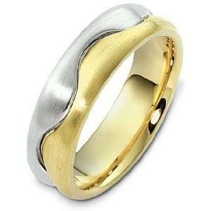 Unique 18 Karat Two Tone Gold Designer Wedding Band Ring
