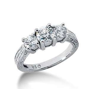 Diamond Engagement Ring Round Prong Antique 14k White Gold DALES