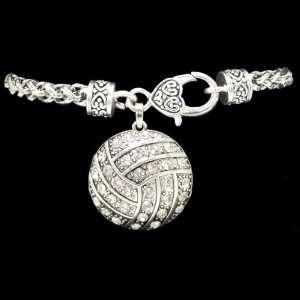 Volleyball   Crystal Charm Bracelet