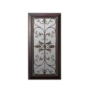 Wall Mirror Decor with Metal Grillwork in Distressed