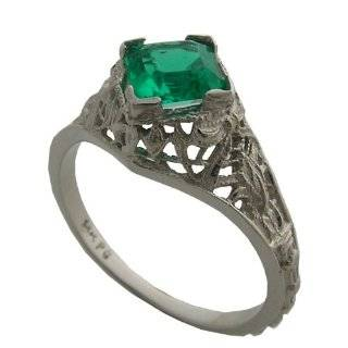 Antique Style Emerald Wedding Ring Set Jewelry