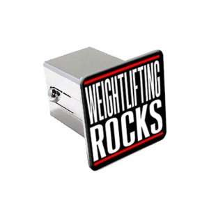 Weightlifting Rocks   2 Chrome Tow Trailer Hitch Cover