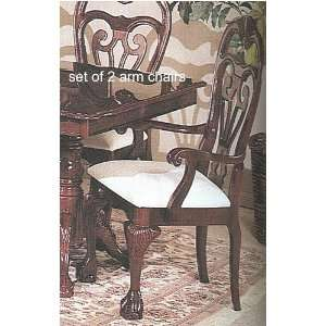 Set of 2 Claw Leg Dark Cherry Finish Wood Formal Dining