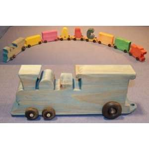 Wooden Toy   Train w/ Name: Engine: Toys & Games