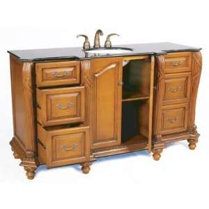 65 Bathroom Vanity in Antique Oak Vanity Top Finish Black Galaxy