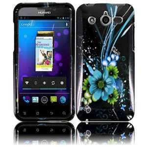 Blue Flower Hard Case Cover for Huawei Honor M886 Cell
