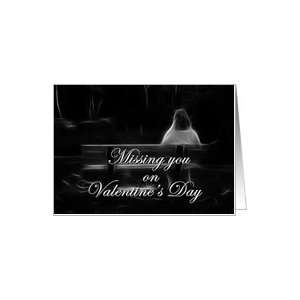 Woman Alone on Bench Miss You Valentine Card