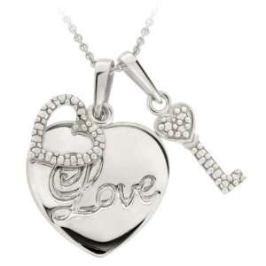 Sterling Silver Diamond Accent Double Hearts Love Pendant Jewelry