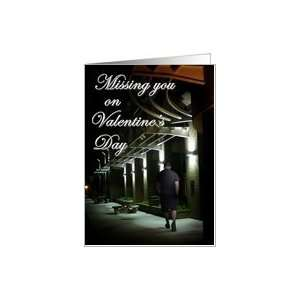 Man Walking at Night Miss You Valentine Card Health