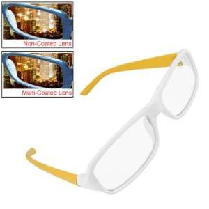Como Yellow Arm Wht Rim Lady Multi Coated Lens Plano