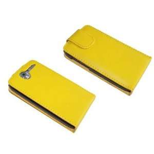 Yellow PU Leather Flip Case for HTC Desire Cell Phones & Accessories