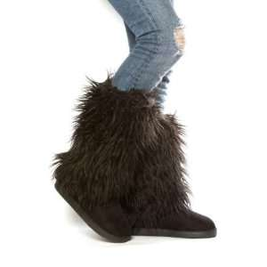 Ladies Black Faux Fur Boot Cover Fur Boots