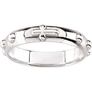 14 Karat White Gold Rosary Ring Size 6 Diamond Designs