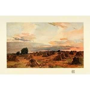 Sunset Evening Hay Sky Farming   Original Color Print Home & Kitchen