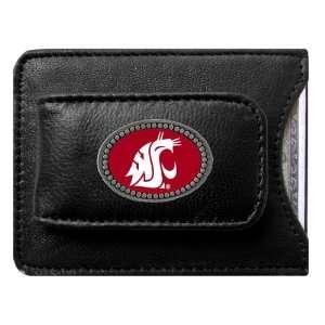 Washington State Cougars NCAA Logo Card/Money Clip Holder (Leather