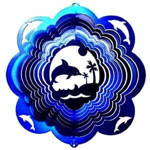 Stainless Steel Dolphin   12 Inch Wind Spinner   Blue