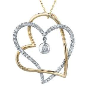 Tangled open heart pendant of 0.60cttw pave round diamonds