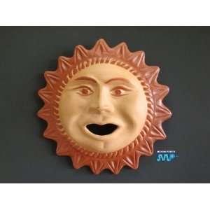 Sun Theme Red Clay Ceramic Large 14 Plaque Folk Hangin Wall Art Decor