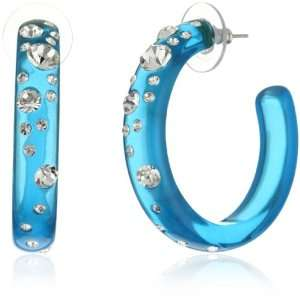 Andrew Hamilton Crawford Fantasy Blue Hoop Earrings: Jewelry