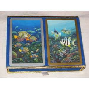 Vintage Double Deck Playing Cards Fish & Ocean Scene by