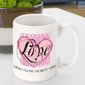Personalized Mothers Day Shabby Chic Love Coffee Mug