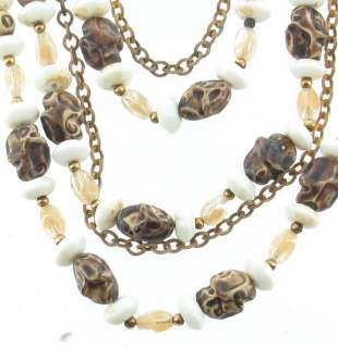 VINTAGE HOBE EARTHY 5 STRAND RUSSIAN GOLD NECKLACE