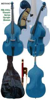 BLUE 3/4 UPRIGHT BASS+BAG+BOW+XTRA STRING+TUNER@SALE@