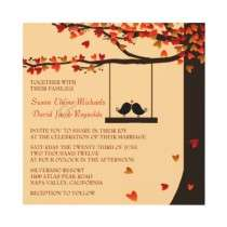 Love Birds Falling Hearts Oak Tree Wedding Invite by InvitationBlvd