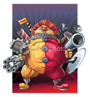 Mad fat clown killer with guns. Royalty Free Stock Vector Art