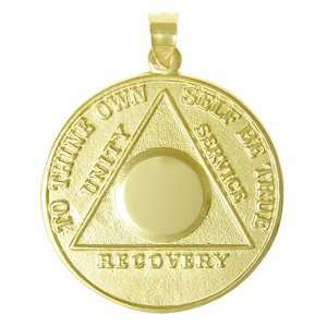 10k Gold Engraveable Chip AA Alcoholics Anonymous Pend