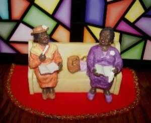 African American Ladies In Church Pew Figurine
