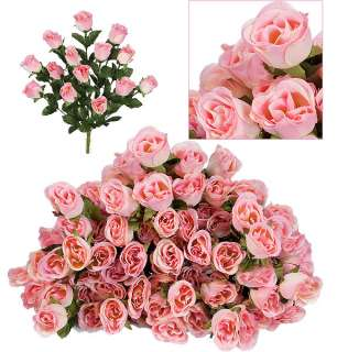 84 Long Stem Rose Buds Wedding Silk Dew Flowers NEW 6PK