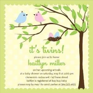 Bird Tree Egg Boy Girl Twins Baby Shower Invitations