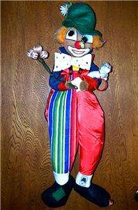 VINTAGE Designer 30 CIRCUS CLOWN Cloth DOLL/WALL HANGING w/tags