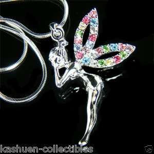 Swarovski Crystal PIXIE~ fairy Tinker Bell Tinkerbell~ ANGEL Necklace