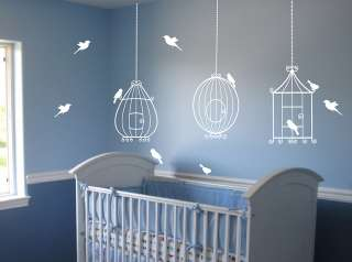 Bird Cages with 10 birds Wall Decal Deco Art Sticker Mural