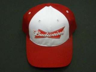 Red and White Budweiser Baseball Cap Clothing
