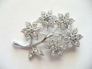 Vintage Clear Rhinestone Flower Bouquet Pin Brooch