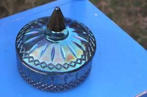 CARNIVAL GLASS BLUE COVERED CANDY DISH