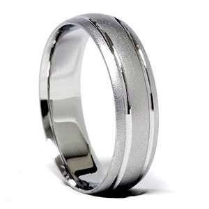 Double Inaly Brushed Solid White Gold Mens Wedding Ring Sandblast Band