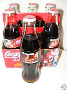 Coca Cola Coke Classic Christmas Sundblom Santa Glass Bottles Six Pack