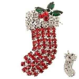 Christmas Jewelry Red Socks Silver Tone Crystal Rhinestone Charm Pin