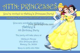 Disney Princess Invitations Belle Cinderella Snow White Printable