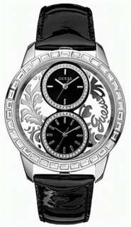 NEW GUESS DUAL 2 TIME ZONE SWARVOSKI SS LADY WATCH BLACK LEATHER STRAP