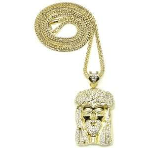 Jesus Large Gold Color Iced Out Pendant 36 Inch Necklace Franco
