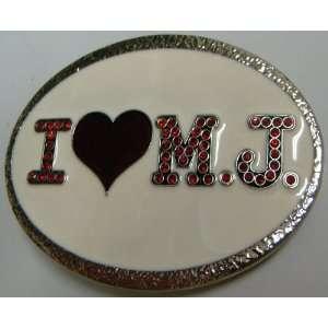I Love M.J. MJ Michael Jackson Belt Buckle (Brand New