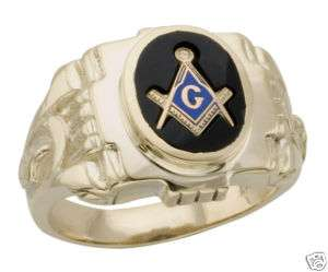 NEW 10K YELLOW GOLD ONYX MASONIC RING FREEMASON 10KT MASON BLUE LODGE