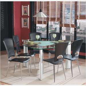 Imports Tracy 7 Piece Dining Table Set with Black Chairs Furniture